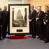 FDNY Presentation at FDNY Headquarters 11/21/2016 @12PM, 9 Metrotech Brooklyn New York. To the right, FDNY Commissioner Mr.Daniel A. Nigro, FDNY Foundation Chairman Mr.Steve Ruzow, FDNY First Deputy Commissioner Mr.Robert Turner, Chief Of Department Mr.James E. Leonard, etc were present. The iconic Steel Standing photograph has been designated to hang permanently in the FDNY Commissioner's Conference Room directly behind where the F.D.N.Y. Commissioner