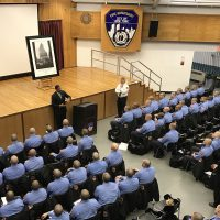 The Official STEEL STANDING presentation at the F.D.N.Y. Training Academy. 02/16/2017 Steel Standing Memorial Foundation Founder, Mr.Anthony Whitaker speaking before new F.D.N.Y. Trainee Probation Fire Men and Fire Women.