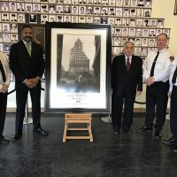 The Official STEEL STANDING presentation at the F.D.N.Y. Training Academy. 02/16/2017 Pictured here from the left, F.D.N.Y. Chief of Training and Assistant Chief Mr.James Hodgens , Mr.Anthony Whitaker Founder of the Steel Standing Memorial Foundation, Mr.Steve Gold, Managing Director of the Steel Standing Memorial Foundation, F.D.N.Y. Chief Mr.Tom Robson, and F.D.N.Y. Captain, Mr.Bernie Cornell