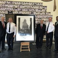 The Official STEEL STANDING presentation at the F.D.N.Y. Training Academy. 02/16/2017 Pictured here from the left. Mr.Stephen L. Ruzow, Chairman of The F.D.N.Y. Foundation, F.D.N.Y. Chief of Training and Assistant Chief, Mr.James Hodgens, Mr.Steve Gold, Managing Director of the Steel Standing Memorial Foundation, F.D.N.Y. Chief Mr.Tom Robson, and Mr.Anthony Whitaker, Founder of the Steel Standing Memorial Foundation.