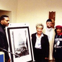 Queens Borough President, Mrs.Helen Marshall was the first African-American to be elected as the President of Queens. She was the first elected official to be presented with, recognize, and acknowledge the historical, and iconic Steel Standing photograph. Steel Standing Memorial Foundation Founder and photographer of the Steel Standing photograph was invited to the Langston Hughes Library in Queens, February 2002 to make the presentation. There were about 200 people in attendance, and she made the introduction for Mr.Whitaker to speak.