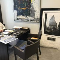 Mr.Stephen Meringoff in his office, with his iconic limited edition Steel Standing Print he acquired at the FDNY Foundation Dinner 05/11/2017.