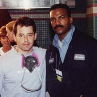 Actor Matthew Broderick and Anthony at Ground Zero, Sept. 2001