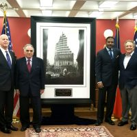 The Official NYPD Steel Standing Memorial Presentation at NYPD Headquarters within the historic Theodore Roosevelt room which took place January 23, 2018. Pictured from left to right, NYPD Commissioner Mr.James P. O'Neill, Managing Director of the Steel Standing Memorial Foundation Mr.Steve Gold, Steel Standing Memorial Foundation Mr.Antony Whitaker, and NYC Real Estate Magnate, Mr.Stephen Meringoff.