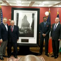 The NYPD Steel Standing Memorial Presentation at NYPD Headquarters within the historic Theodore Roosevelt room which took place January 23, 2018. Pictured from left to right, NYC Real Estate Magnate, Mr.Stephen Meringoff. Managing Director of the Steel Standing Memorial Foundation Mr.Steve Gold, Founder of the Steel Standing Memorial Foundation Mr.Antony Whitaker, and NYPD Commissioner Mr.James P. O'Neill.