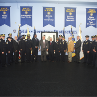 The Official Steel Standing Memorial Presentation at Port Authority Police Headquarters. Captured here is: SUPERINTENDENT OF POLICE AND DIRECTOR OF PUBLIC SAFETY MICHAEL A. FEDORKO • ASSISTANT CHIEF NORMA HARDY • DEPUTY CHIEF MATTHEW M. WILSON • DEPUTY CHIEF MICHAEL BROWN AND • DEPUTY CHIEF RAYMOND BRYAN Command Staff • COMMANDING OFFICER PATH INSPECTOR GERALDO SILVA • COMMANDING OFFICER OF NEWARK LIBERTY INTERNATIONAL AIRPORT INSPECTOR CHRISTOPHER FIGARO • COMMANDING OFFICER OF PORT AUTHORITY BUS TERMINAL DEPUTY INSPECTOR RONALD SHINDEL • COMMANDING OFFICER OF LAGUARDIA INTERNATIONAL AIRPORT DEPUTY INSPECTOR CHARLES O'CONNOR • COMMANDING OFFICER OF PORT AUTHORITY POLICE ACADEMY DEPUTY INSPECTOR JAMES MCSORLEY • COMMANDING OFFICER OF STATEN ISLAND BRIDGES CAPTAIN STEVEN YABLONSKY • COMMANDING OFFICER OF THE WORLD TRADE CENTER CAPTAIN BRENDAN BANE • EXECUTIVE OFFICER OF JOHN F. KENNEDY INTERNATIONAL AIRPORT CAPTAIN RICHARD BELLUCCI • EXECUTIVE OFFICER OF NEWARK LIBERTY INTERNATIONAL AIRPORT AND THE NEW JERSEY MARINE TERMINAL CAPTAIN KEVIN FOWLER • COMMANDING OFFICER OF GEORGE WASHINGTON BRIDGE CAPTAIN EMILIO GONZALEZ • COMMANDING OFFICER OF LINCOLN TUNNEL CAPTAIN JOHN DENESOPOLIS AND • COMMANDING NEW JERSEY MARINE TERMINAL CAPTAIN KEITH RUBEL, Mr.Stephen Gold, Managing Director of the Steel Standing Memorial Foundation, and Mr.Anthony Whitaker, Founder of the Steel Standing Memorial Foundation. May 1, 2018