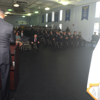 Standing Memorial Foundation Founder Anthony Whitaker addressing over 300 Officers and High-Ranking Officers pictured here at the Official Steel Standing Memorial Presentation at Port Authority Police Headquarters May 1, 2018.
