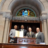 Anthony Whitaker, Steel Standing Memorial Foundation Founder and creator of the iconic Steel Standing photograph in the New York State Senate Chamber being honored with a New York State Legislative Award.