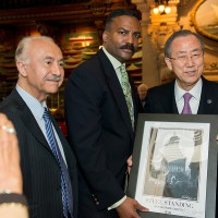 Anthony Whitaker Presents a Framed Steel Standing Print to Ban Ki-Moon, U.N. Secretary-General. 05/09/2013