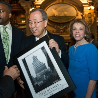 Anthony Whitaker Presents a Framed Custom Steel Standing Print to U.N. Secretary General, Ban Ki-Moon. Anthony Whitaker Presents a Framed Steel Standing Print to Ban Ki-Moon, U.N. Secretary-General. 05/09/2013