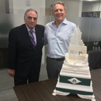 Steel Standing Memorial Foundation Managing Director Mr.Stephen Gold pictured here with Real Estate Mogul and Steel Standing Memorial Foundation supporter Mr. Stephen Meringoff. Mr.Meringoff made room in his extremely tight schedule to invite Anthony and Steve to his office so he could personally view up close the architectural prototype model of the Steel Standing Memorial Monument. He was most impressed by the artistry, workmanship, attention to detail, and profound symbolic meaning encapsulated in monuments design. 06/12/2019